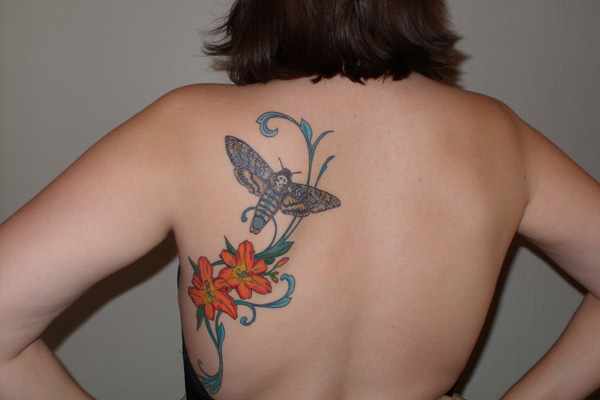 moth and lillies tattoo 20 Exciting Butterfly and Flower Tattoos