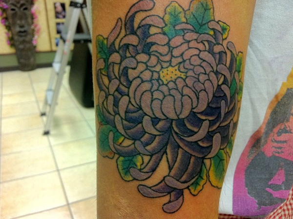 japanese purple chrysanthemum tattoo 25 Unique Chrysanthemum Tattoo Designs