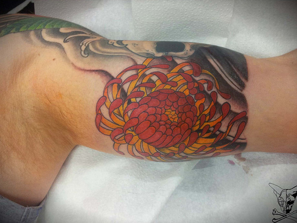 red chrysanthemum tattoo 25 Unique Chrysanthemum Tattoo Designs