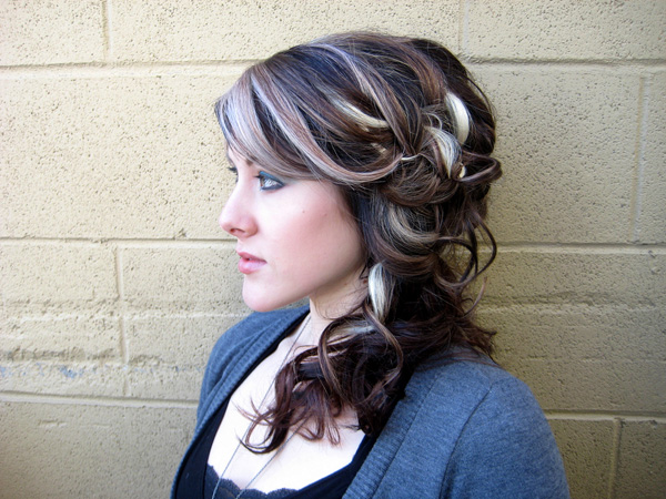 Curly Highlighted Updo