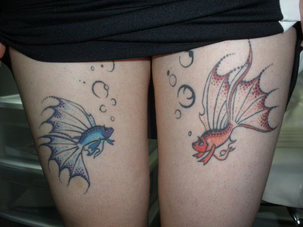Red And Blue Fish Tattoo