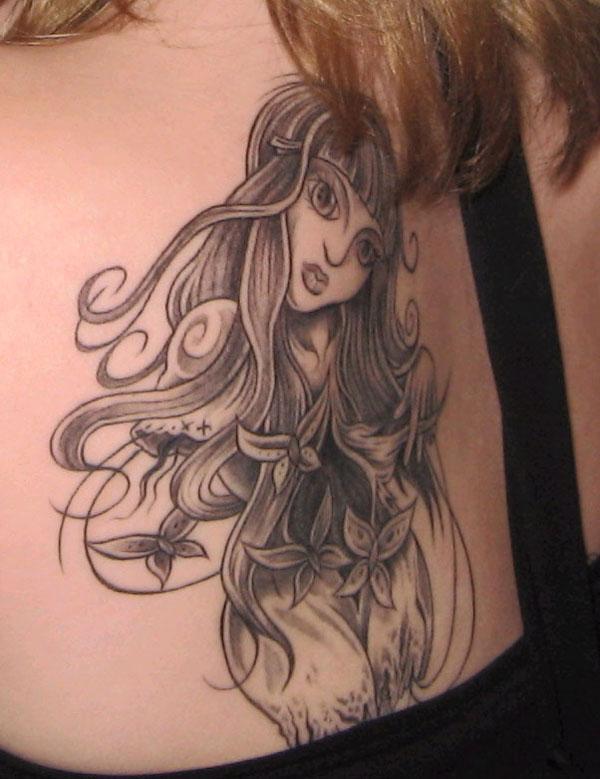 Pretty Girl Back Tattoo