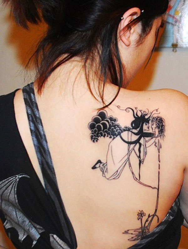Girl's Arty Back Tattoo