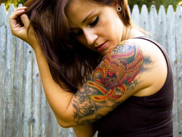 color of phoenix 25 Half Sleeve Tattoos For Women