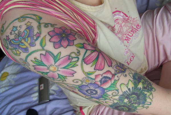 floral buterfly half sleeve 25 Half Sleeve Tattoos For Women