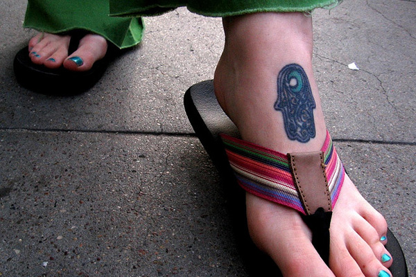 Hamsa Foot Tattoo
