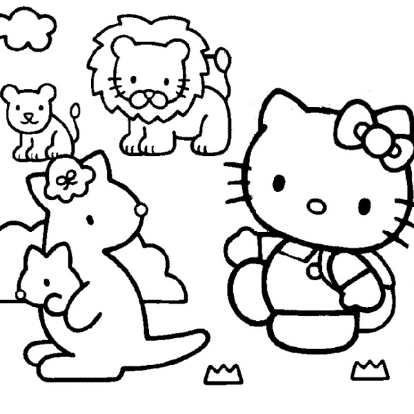 kitty at the zoo - Coloring Pages Kitty Summer