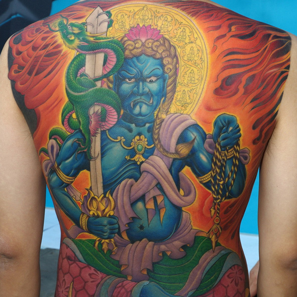 A Flaming Back Tattoo