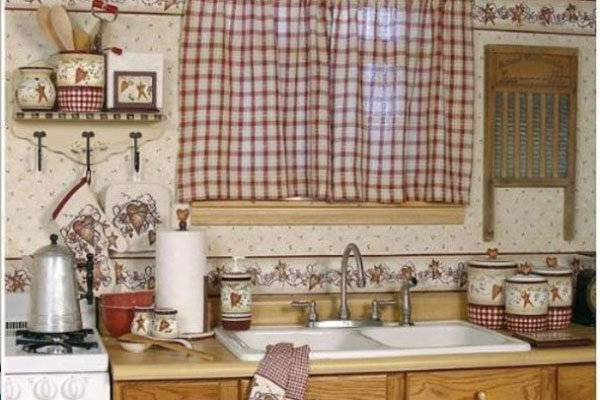Kitchen Curtain Checked Decor