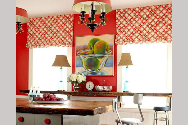 Kitchen Curtain Red Checks