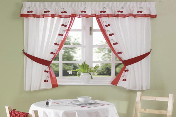 Cherry Theme Kitchen Curtain