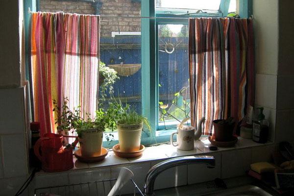 Wonderful Rainbow Stripes Kitchen Curtain
