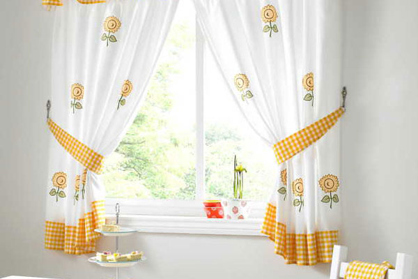 Yellow Kitchen Curtain Checks