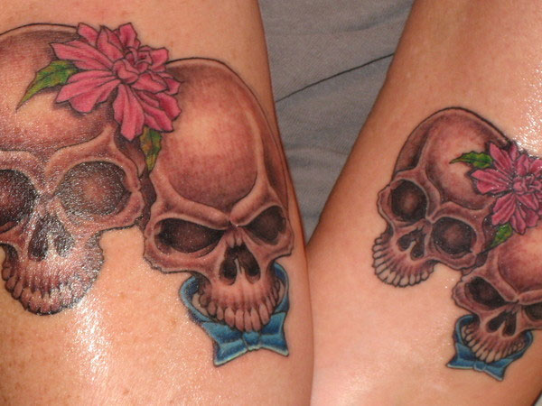 matching skull tattoo 25 Adorable Matching Tattoos For Lovers