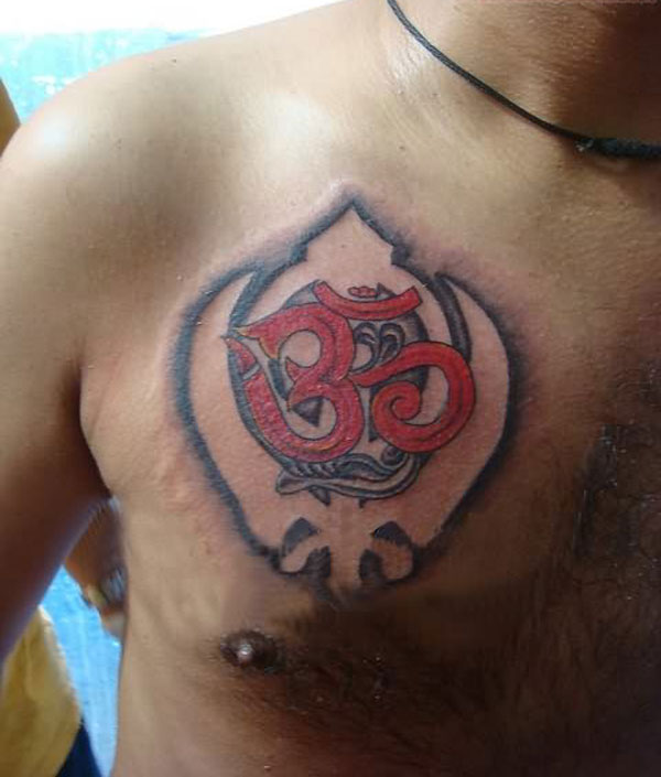 Om Red Tattoo