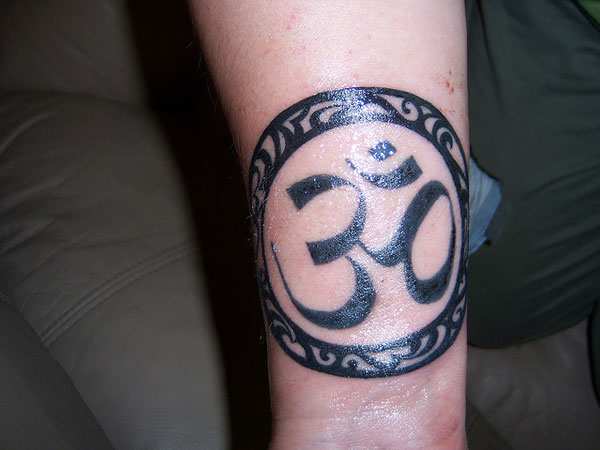 Om Ringed Tattoo