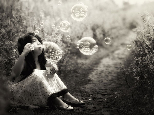Little Girl And Bubbles