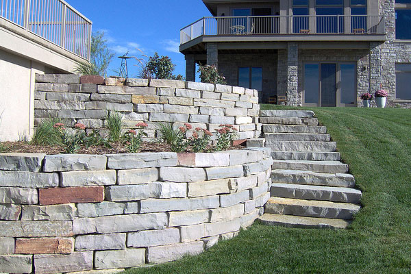 Retaining Wall Reddish Stone