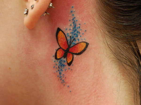 behind ear 25 Superb Small Butterfly Tattoos