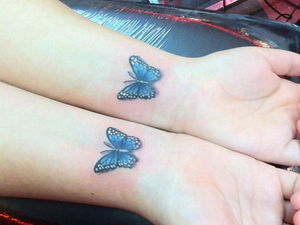 blue butterfly tattoo 25 Superb Small Butterfly Tattoos