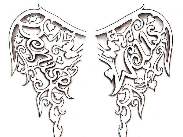 Heart with Wings Tattoo Drawings