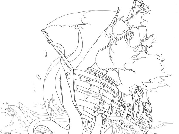 ship and octopus tattoo design 30 Mind Blowing Tattoo Sketches