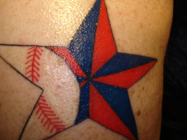 baseball inside nautical star 25 Stupendous Baseball Tattoos