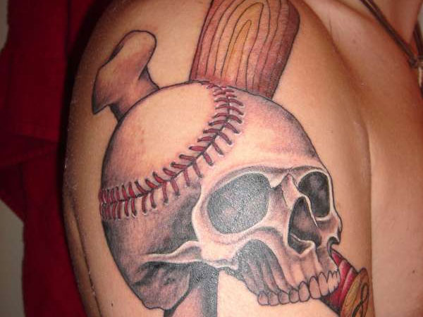 baseball skull tattoo 25 Stupendous Baseball Tattoos