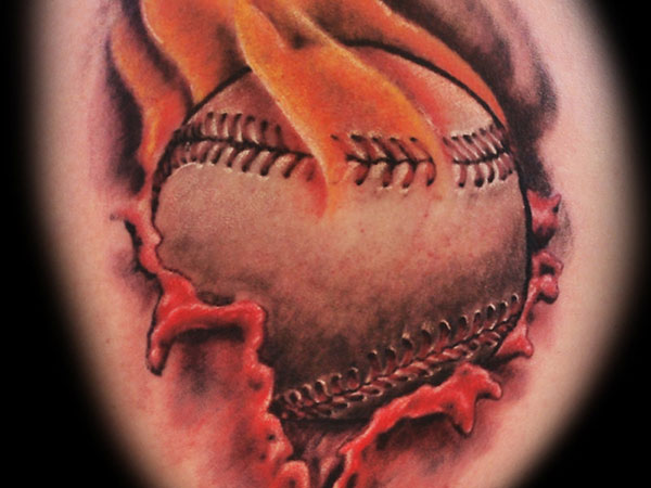 flaming baseball tattoo 25 Stupendous Baseball Tattoos
