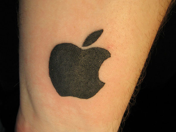 Black Logo Of Apple Tattoo