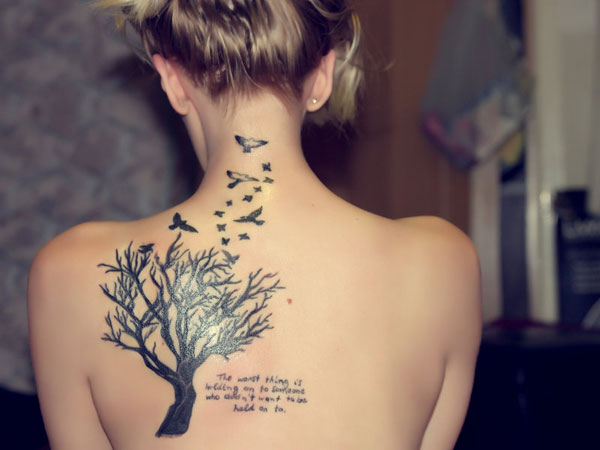 Amazing Tree And Birds Tattoo