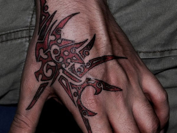Cool Tribal Art Hand Tattoo