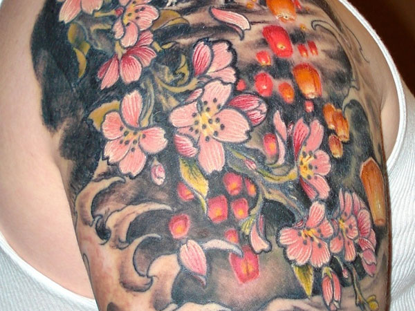 Traditional Japanese Flowers Tattoo