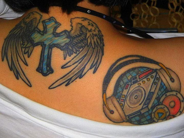 Blue Angel Cross With DJ Tattoo