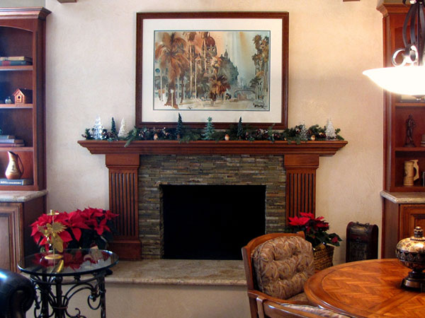 Rich Wooden Look Fireplace