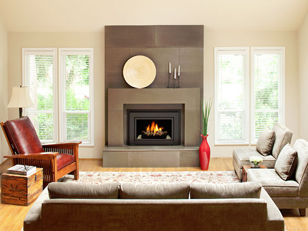 There are many fashionable Fireplace Surround Ideas you can try to match with your room decor. The covered glass front style design of a modern fireplace also looks great.