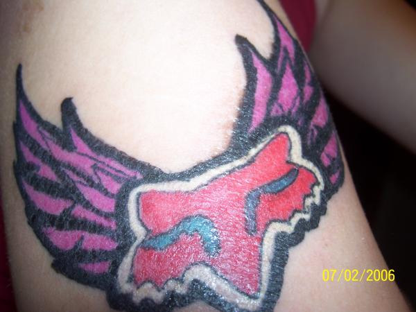Red And Pink Fox Racing Tattooo