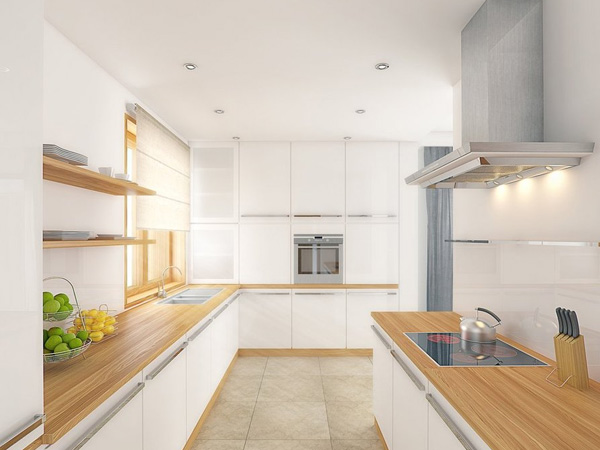 Lush White Galley Kitchen