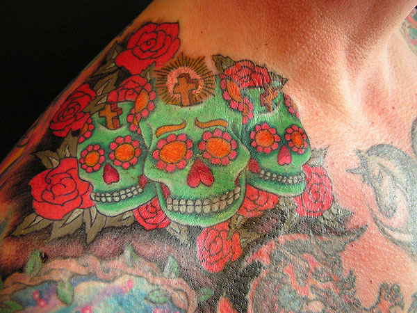 day of the dead skulls 25 Splendid Mexican Skull Tattoo Designs