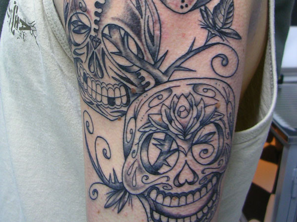 skull sleeve tattoo 25 Splendid Mexican Skull Tattoo Designs