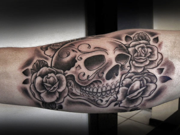 sugar skull and rose tattoo 25 Splendid Mexican Skull Tattoo Designs