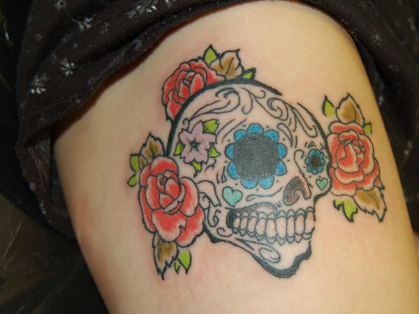 thigh tattoo 25 Splendid Mexican Skull Tattoo Designs
