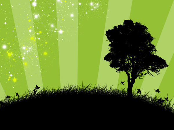 Green Magic Stars Wallpaper