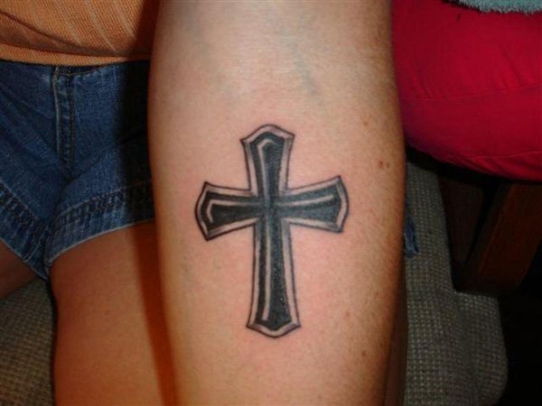 Black Cross On Forearm