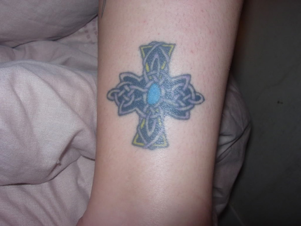 Elaborate Celtic Small Cross Tattoo