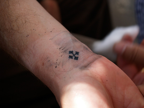 Very Small Coptic Cross Tattoo