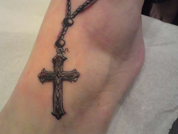 Ankle Latin Cross Tattoo