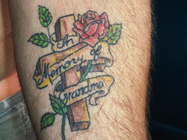 Grandma Memory Cross Tattoo