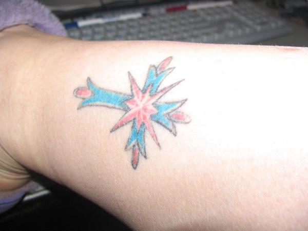 Blue And Red Cross Tattoo