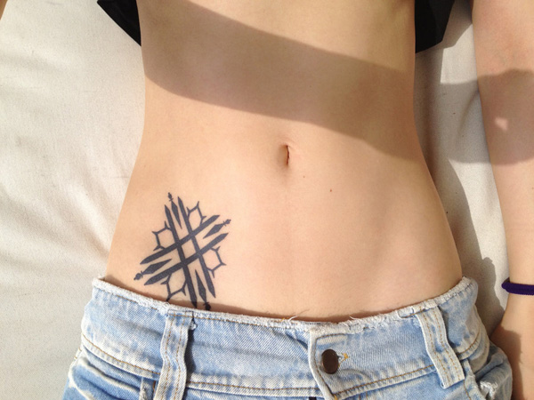 Tilted Square Cross Tattoo
